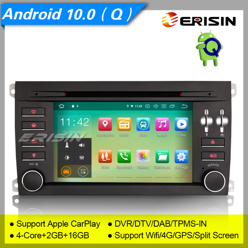 "2+16GB PX30 Porsche Cayenne Car DVD Player Android 10.0 BT CarPlay DAB+ Radio Car Stereo Sat Navi GPS DVR TPMS DTV OBD BT SWC USB  7"" Erisin ES5197C"
