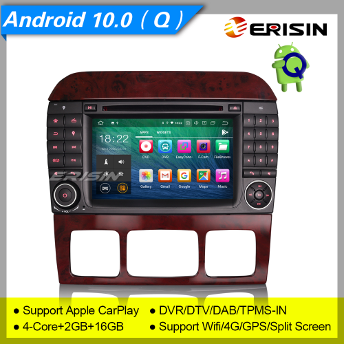 "2+16GB PX30 Android 10 Car DVD Player Mercedes Benz S Class W220 CL W215 CarPlay DAB+TPMS DVR 7"" Erisin ES5182S"