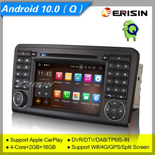 "2+16GB PX30 Android 10.0 Car DVD Player Mercedes Benz W164 X164 ML Class GL Class TPMS Car Stereo Sat Navi DAB+ Radio OBD BT SWC  DVR 7"" Erisin ES5183"