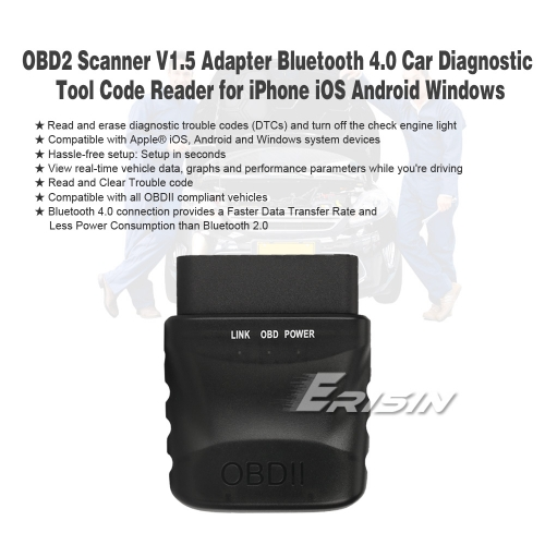 OBDII Box Scanner V1.5 for iOS Android Windows CE BT 4.0 Car Diagnostic Code Reader Erisin ES357