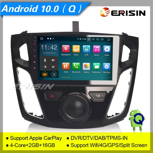 "2+16GB PX30 Android 10.0 Ford Focus 2012-2017 Car Stereo DAB+ Radio CarPlay OBD Sat Navi TPMS BT 4G DVR 9"" Erisin ES5195F"