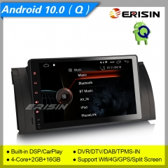 "2+16GB 4 Core CarPlay Android 10.0 Car Stereo BMW X5 E53 5 Series E39 M5 DAB+ Radio Sat Navi TPMS DSP BT SWC 4G 9"" Erisin ES4293B"