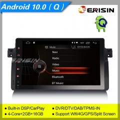 "2+16GB 4 Core DSP CarPlay Android 10.0 BMW E46 Car Stereo 3er 318 320 325 M3 Rover 75 MG ZT DAB+ Radio 4G DVR TPMS BT SWC 9"" Erisin ES4296B"