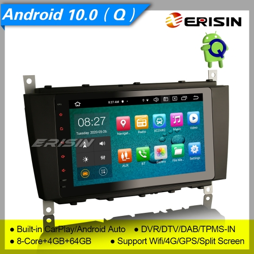 "4+64G 8 Core PX5 DSP Android 10.0 Car Stereo Mercedes Benz W203 W209 C CLC CLK Class DAB+ Radio  CarPlay GPS Sat Navi DVR TPMS BT SWC  8"" Erisin ES818"