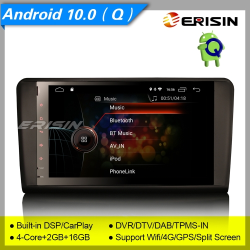 "2+16GB 4 Core CarPlay DSP Android 10.0 Mercedes Benz Car Stereo ML GL Class W164 X164 DAB+ Radio Sat Navi DVR TPMS OBD BT SWC 9"" Erisin ES4294L"