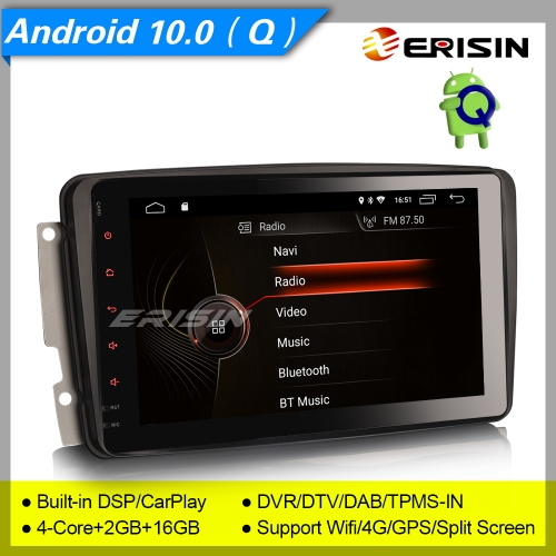 "2+16GB 4 Core DSP Android 10.0 Car Stereo Mercedes C CLK G Class W203 W209 W639 W463 Viano Vito DAB+ CarPlay BT DVR Navi 8"" Erisin ES4289C"