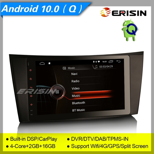 "2+16GB 4 Core Android 10.0 Mercedes Benz Car Stereo CLS G E Class W211 W219 W463 DAB+ Radio Sat Navi DVR DSP CarPlay TPMS SWC BT 8"" Erisin ES4281E"