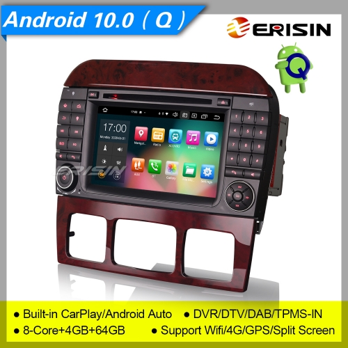 "4+64G 8 Core PX5 DSP Android 10.0 Car DVD Player Mercedes Benz S Class W220 CL W215 CarPlay DAB+ Radio Sat Navi DVR TPMS SWC BT 4G 7"" Erisin ES8182S"