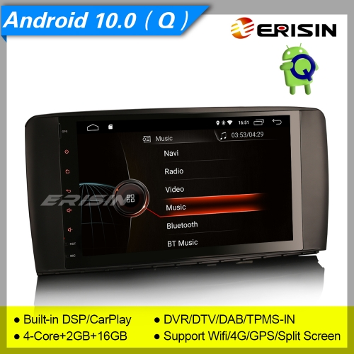 "2+16GB 4 Core CarPlay Android 10.0 Mercedes Benz W251 R Class Car Stereo DAB+ Radio Sat Navi DVR DSP TPMS OBD SWC BT GPS 9"" Erisin ES4295R"