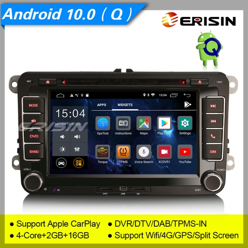 "2+16GB 4 Core Android 10.0 DAB+Car DVD Player For VW Seat Skoda Golf 5 6 Passat Fabia Superb Yeti Touran Stereo CarPlay 4G 7"" Erisin ES2655V"