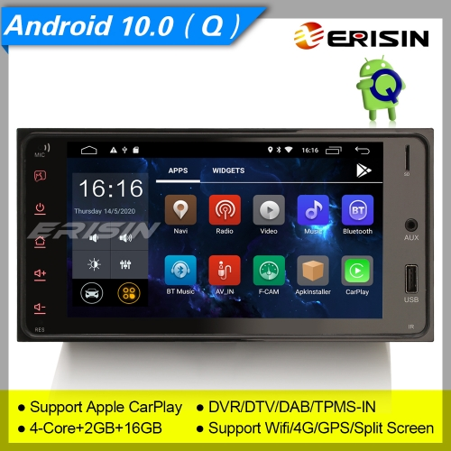 "2+16GB 4 Core Android 10.0 Double 2 Din Car Stereo DAB+ Radio CarPlay DSP CAM DVR Bluetooth SWC 4G OBD 4G Sat Navi BT 7"" Erisin ES2642U"
