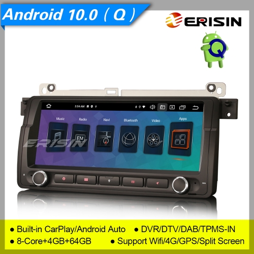 "4+64G 8 Core PX5 Android 10.0 CarPlay BMW E46 Car Stereo M3 3er Rover 75 MG ZT DAB+ Radio Sat Navi DSP GPS SWC 8.8"" Erisin ES8146B"
