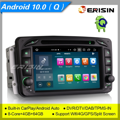 "4+64G 8 Core Android 10.0 Car DVD Player Mercedes Benz C CLK G Class W203 W209 W639 W463 Viano Vito DAB+4G DVR 7"" Erisin ES8163C"