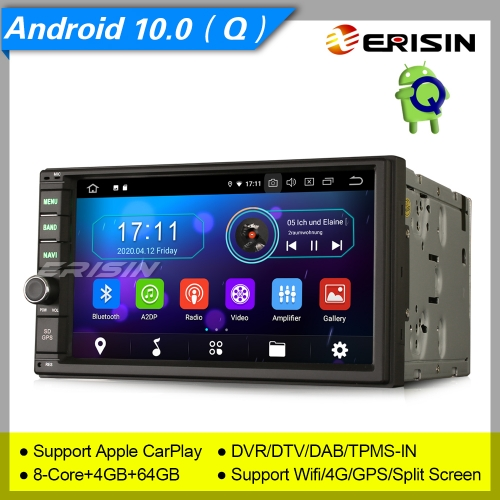 "4+64GB PX5 Autoradio Android 10.0 2 Din Car Stereo Car Radio Double DAB+ Radio CarPlay Sat Navi TPMS DVR Bluetooth OBD DTV USB SD 7"" Erisin ES6970U"