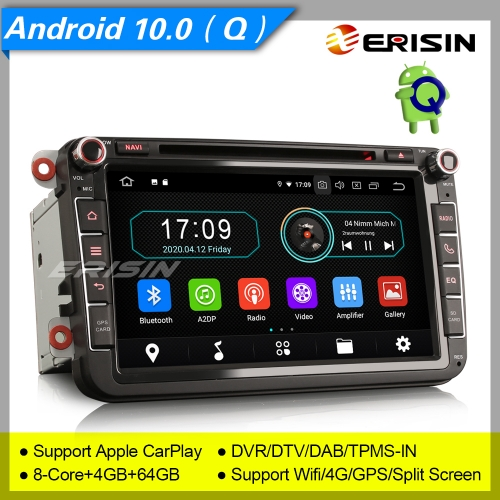 "4+64GB PX5 Android 10.0 Car DVD Player For VW Superb Seat Golf Polo Skoda Passat Tiguan Stereo  Sat Navi GPS DAB+ Radio DVR TPMS BT 8"" Erisin ES6985V"