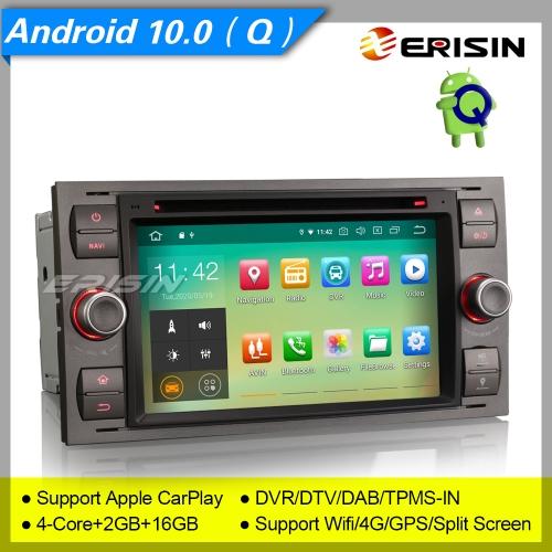 "2+16G PX30 Android 10.0 Car DVD Player Ford Fiesta Focus Fusion   S-Max C-Max Galaxy Transit DAB+ SWC Stereo Navi DVR TPMS 7"" Erisin ES5166F"