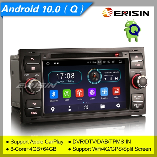 "4+64GB PX5 Android 10 Car DVD Player Ford Focus Fiesta C-Max S-Max Transit DAB+ Radio Sat Navi Car Stereo DVR TPMS GPS BT 4G CAM7"" Erisin ES6931FB"