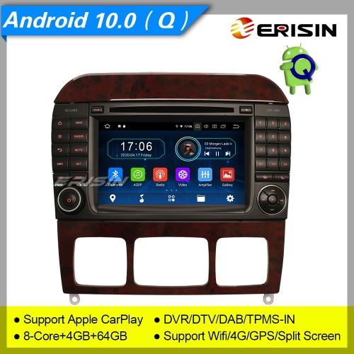 "4+64G PX5 8 Core Android 10.0 Car DVD Player Mercedes Benz S Class W220 CL Class W215 DAB+ Radio Car Stereo Sat Navi TPMS 7"" Erisin ES6997S"