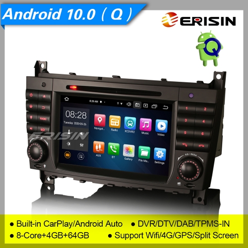 "4+64G 8 Core DSP CarPlay Android 10 Car DVD Player Stereo Mercedes Benz W203 W209 C CLC CLK Class DAB+Radio GPS BT Sat Navi 7"" Erisin ES8169C"
