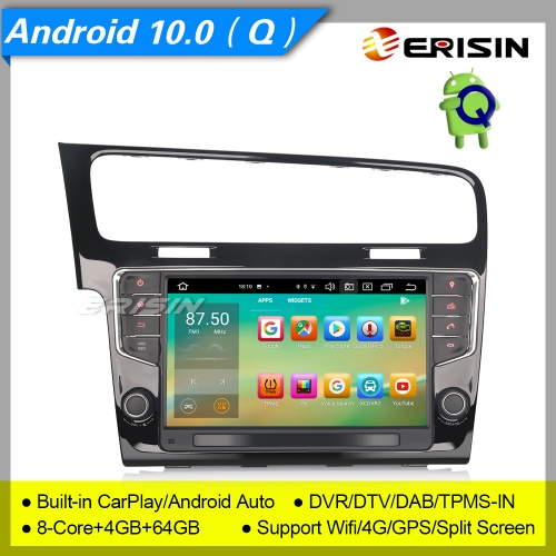 "4+64G 8 Core DSP Car Stereo Android 10.0 For VW Golf VII 7 CarPlay DAB+ Radio DTV DVR GPS TPMS CAM OBD 4G Bluetooth SWC USB 9"" Erisin ES8111G"