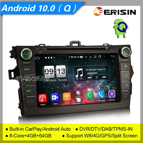 "4+64G 8 Core CarPlay DSP PX5 GPS Android 10.0 TOYOTA AURIS COROLLA ALTIS Car DVD Player DAB+ Radio Sat Navi BT GPS SWC DTV 8"" Erisn ES8728A"