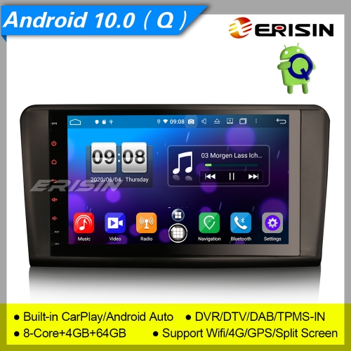 "4+64G 8 Core CarPlay DSP Android 10.0 Mercedes Benz Car Stereo W164 X164 ML GL Class DAB+ Radio GPS DVR TPMS DTV Navi Erisin 9"" ES8794L"