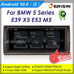 "2+16GB PX30 CarPlay Android 10 Car Stereo GPS Radio BMW E39 E53 5er X5 DAB+ Radio GPS BT5.0 TPMS 4G DVR TPMS SWC 10.25"" Erisin ES5153B"