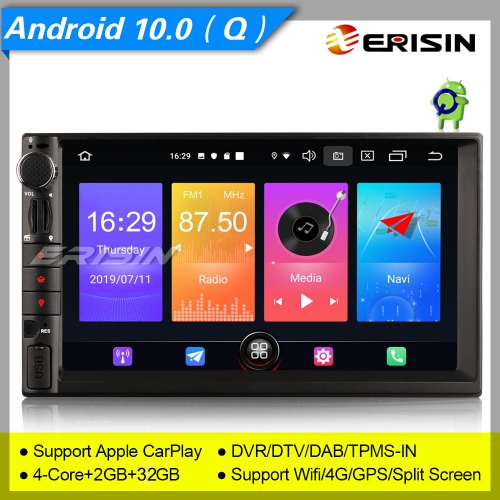 "Erisin Car Stereo ES2749U 7"" GPS For Nissan Android 10.0 Radio Double 2 Din DAB+SatNav DVR Bluetooth 4G OBD 3-UI Sat Navi TPMS DVR Wifi CAM Mirror"
