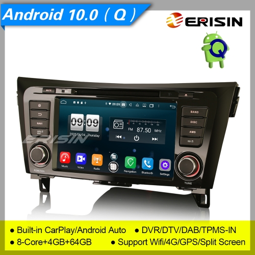 "4+64G CarPlay Nissan X-Trail Qashqai Rogue Car DVD Player Android 10.0 DSP DAB  Radio Sat Navi DSP TPMS PX5 DVR 8"" Erisin ES8752Q"