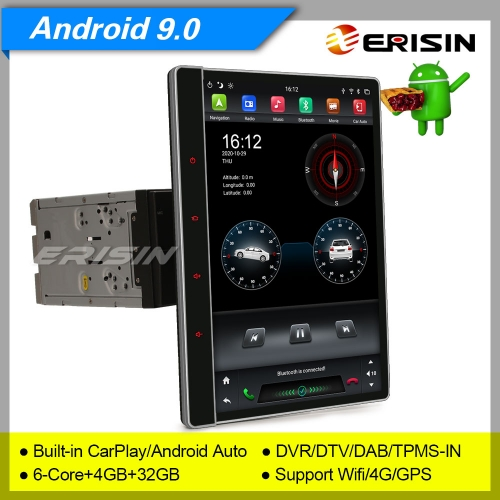 "4+32G 6 Core CarPlay 2 Din Car Stereo Android 9.0 DSP DAB+ Radio Detachable Sat Navi DSP TPMS PX6 DVR 12.2"" Erisin ES8722T"