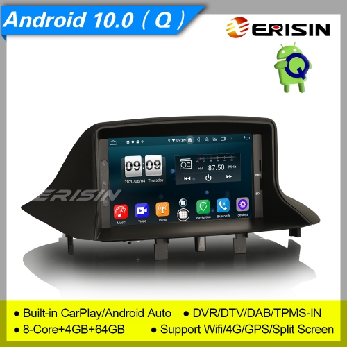 4+64G CarPlay Renault Megane Ⅲ Fluence Car DVD Player Android 10.0 DSP DAB  Radio Sat Navi DSP TPMS PX5 DVR Erisin ES8773M