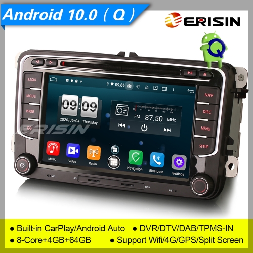 "PX5 Android 10 Car DVD Player Stereo For VW Seat Skoda Bora Golf Yeti EOS DAB+DSP 4G 7"" Erisin ES8791V"