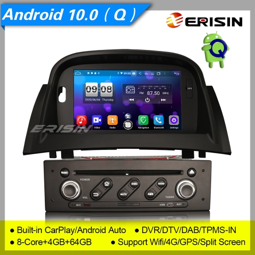 "4+64G CarPlay Renault Megane II Car DVD Player Android 10.0 DSP DAB  Radio Sat Navi TPMS PX5 DVR 7"" Erisin ES8772M"
