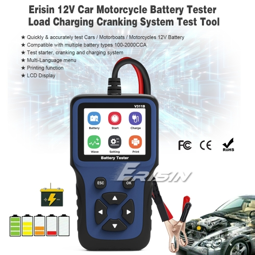 12V Car Battery Tester CE Load Charging Cranking System Test Tool Analyzer 100~2000CCA Erisin ES390