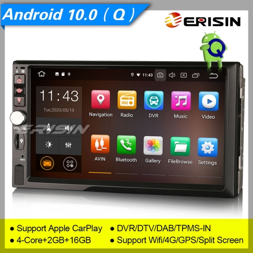 "Erisin Car Stereo ES5141U 7"" GPS For Nissan Android 10.0 Radio Double 2 Din DAB+SatNav DVR Bluetooth 4G OBD Sat Navi TPMS DVR Wifi CAM Mirror"