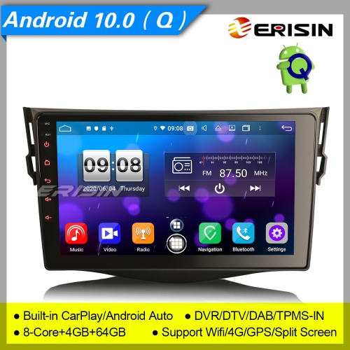 "4+64G 8 Core CarPlay DSP Android 10.0 TOYOTA RAV4 Car Stereo DAB+ Radio Sat Navi DVR OBD DTV 9"" Erisin ES8734R"