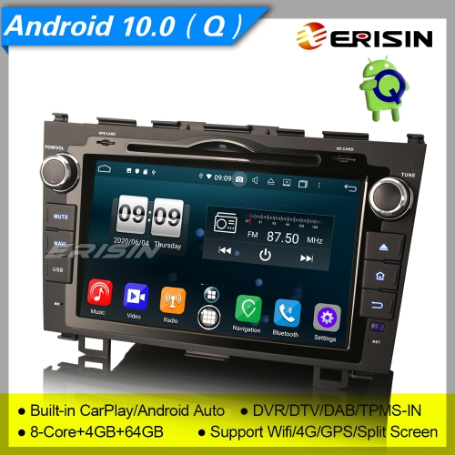 "4+64G 8 Core CarPlay DSP Android 10.0 HONDA CR-V Car DVD Player Stereo DAB+ Radio Sat Navi DVR OBD DTV 8"" Erisin ES8759C"