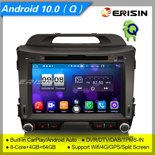 "4+64G 8 Core CarPlay DSP Android 10.0 Kia Sportage Car DVD Player Stereo DAB+ Radio Sat Navi DVR OBD DTV 8"" Erisin ES8733S"