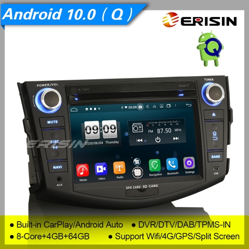 "4+64G 8 Core CarPlay DSP Android 10.0 TOYOTA RAV4 Car DVD Player Stereo DAB+ Radio Sat Navi TPMS DVR 7"" Erisin ES8724R"