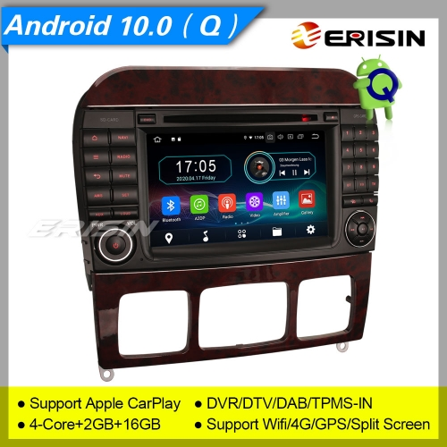 "2+16GB PX30 Android 10.0 Mercedes Benz S-Class W220, CL-Class W215 Car DVD Player Car Stereo Sat Navi DAB+4G DVR TPMS BT OBD 7"" Erisin ES5997S"