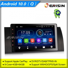 "4+64GB PX5 8 Core Android 10.0 Car Stereo Radio BMW 5 Series E53 E39 X5 M5 DAB+ Radio Sat Navi 4G GPS CarPlay BT DVR CAM TPMS 9"" Erisin ES6993B"