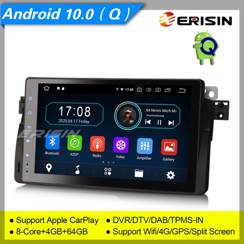 "4+64GB PX5 8 Core CarPlay Android 10.0 BMW E46 Car Stereo 318 320 325 3er Rover 75 MG ZT Sat Navi DAB+ Radio GPS BT DVR TPMS OBD 9"" Erisin ES6996B"