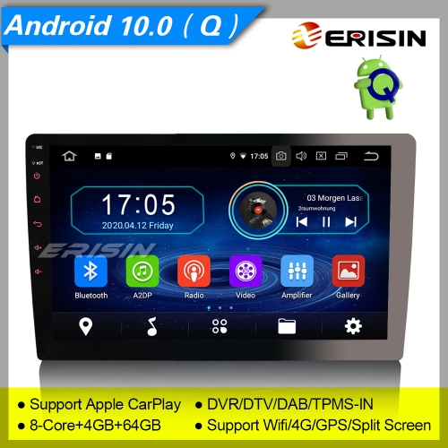 "4+64GB PX5 8 Core  Android 10.0 Single 1 Din Car Stereo Detachable DAB+ Radio BT Sat Navi TPMS OBD GPS TPMS DVR 4G 10.1"" Erisin ES6910U"