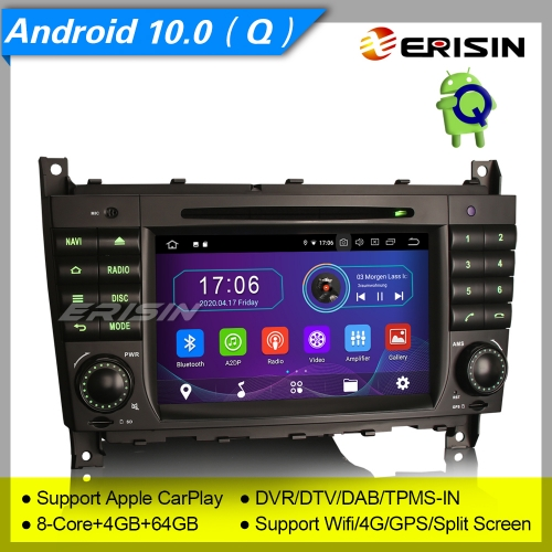 "4+64GB PX5 8 Core Android 10.0 Autoradio Mercedes Benz C CLC Class W203 CLK Class W209 DAB+ DVD TPMS CarPlay TNT Bluetooth GPS DVR 7"" Erisin ES6969C"