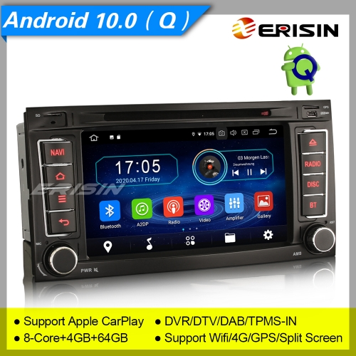 "4+64GB PX5 8 Core Android 10.0 VW TOUAREG T5 Multivan Car DVD Player Car Stereo Sat Navi DAB+4G DVR TPMS BT OBD 7"" Erisin ES6956T"