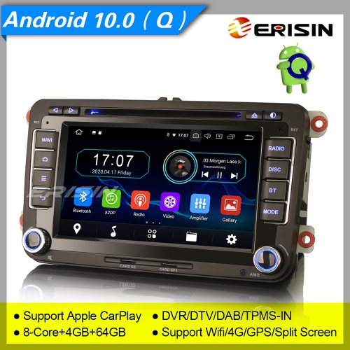 "4+64GB PX5 8 Core  Android 10.0 VW SEAT SKODA Golf Jetta Passat Touran Altea Fabia Car DVD Player Car Stereo Sat Navi DAB+4G DVR BT 7"" Erisin ES6948V"