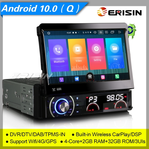 "CarPlay DSP 2+32GB 4 Core DSP Android 10 Detachable Single 1 Din Car Stereo DVD Player DAB+ Radio Sat Navi BT 7"" Erisin ES2790U"