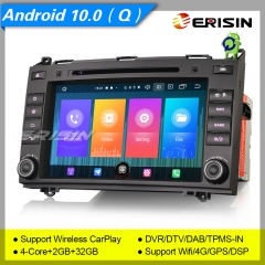 "CarPlay DSP 2+32GB 4 Core DSP Android 10 Car Stereo Mercedes Benz A B Class W169 W245 Sprinter Viano Vito W639 DAB+ Navi 8"" Erisin ES2721B"